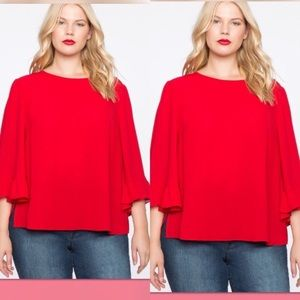 Eloquii relaxed flare sleeves top in red. Size 24